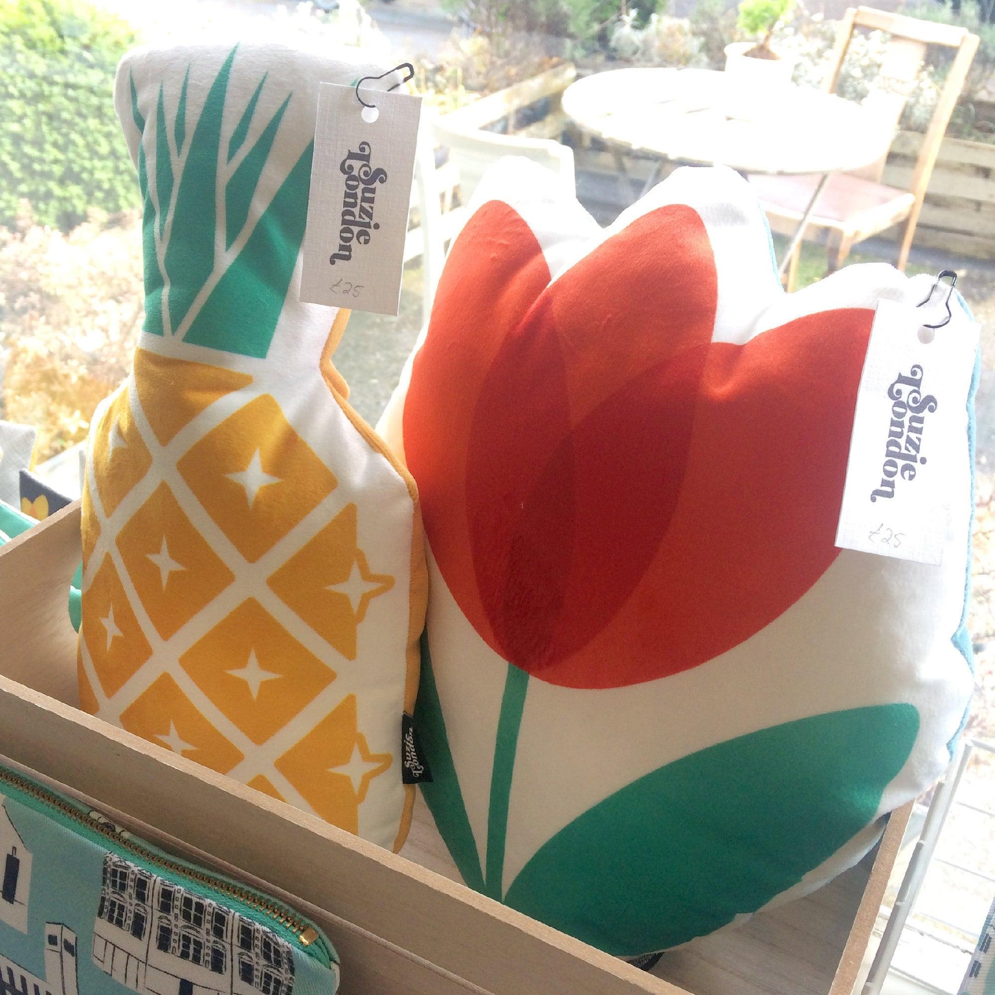 Suzie London Pineapple and Red Tulip velvet cushions
