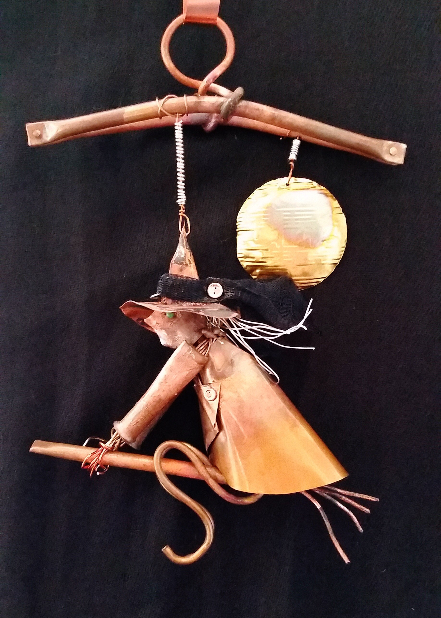 Forged copper Halloween witch from Copper Witch Designs