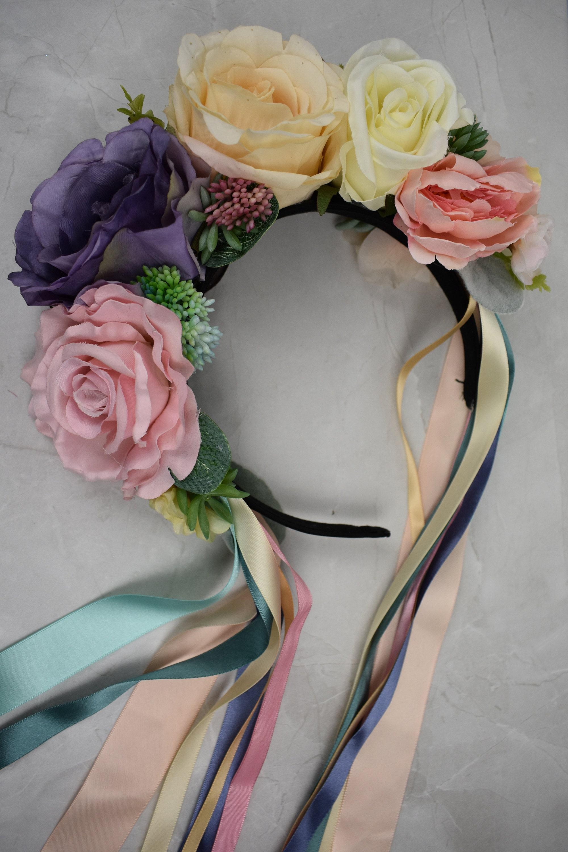 pastel flower crown flower headband bridal headpiece festival bride festival fashion
