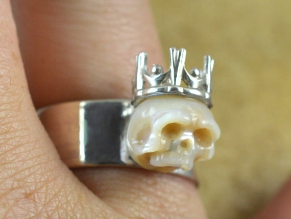 Hand Carved Pearl Skull Ring Wearing Crown