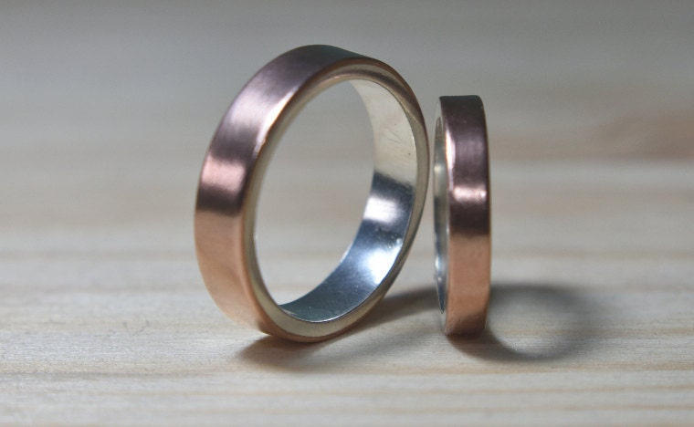 Copper Wedding Band Set