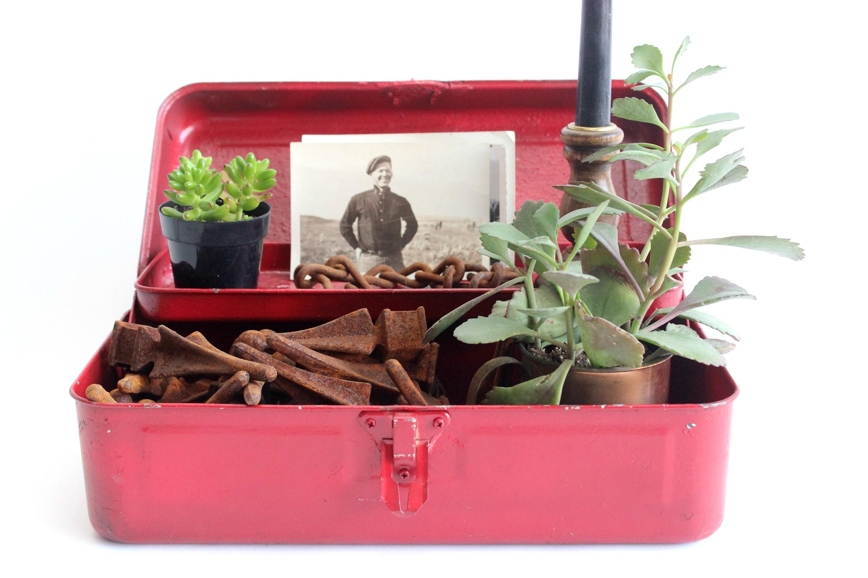 vintage red metal tool box mendez manor