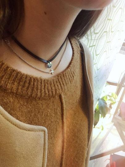 Collar Gargantilla Choker Cuero Personalizada Chica Diseño Español