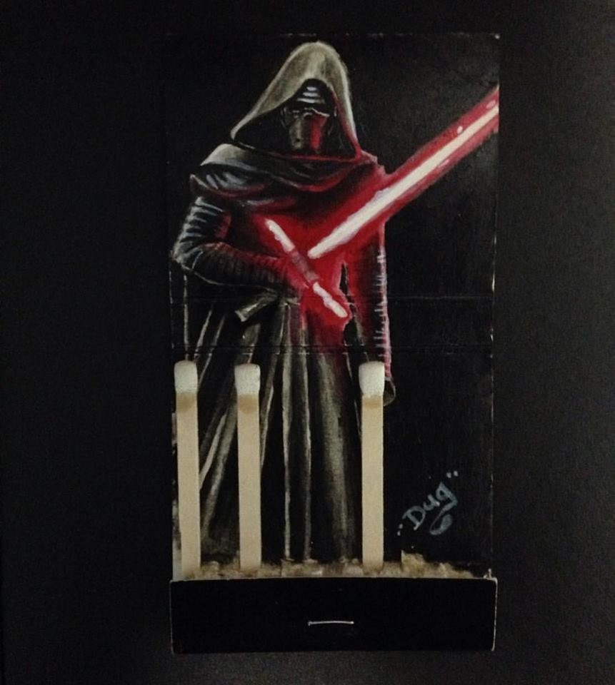 Master of the Knights of Ren.  2x4.2 Acrylic on vintage matchbook