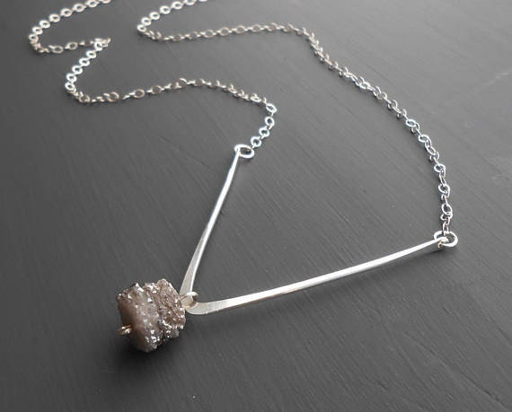 handmade minimalist sterling silver necklace with druzy