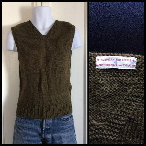 Vintage 1940s WWII American Red Cross wool Sweater Vest size Small Army Green Montgomery W. VA Chapter A.R.C. arc