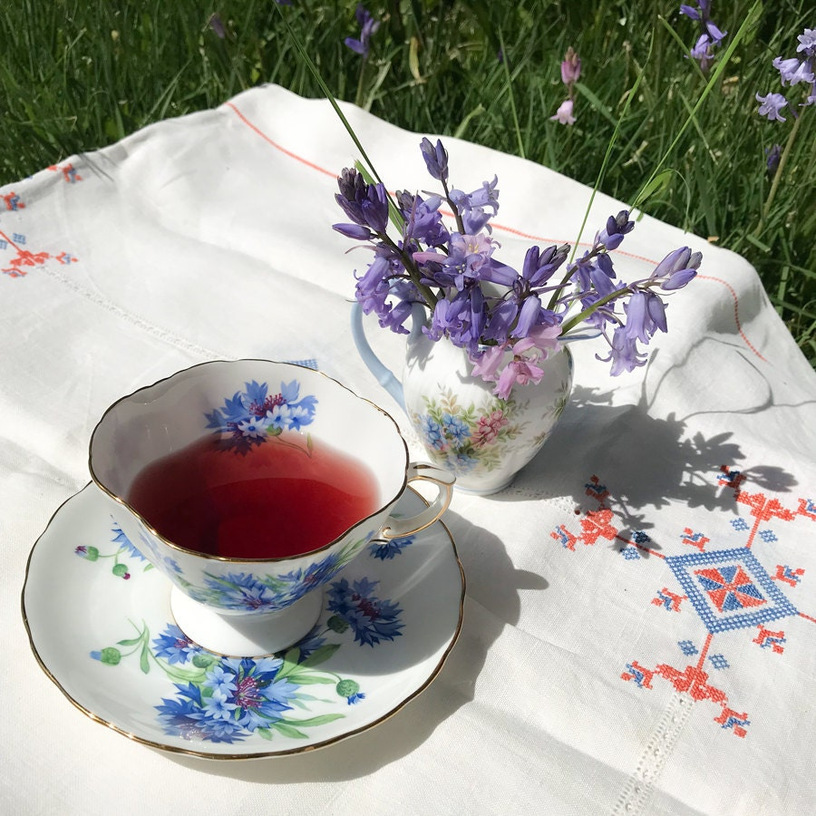 Hammersley Cornflower Teacup and Saucer, and Royal Albert Wisteria Creamer