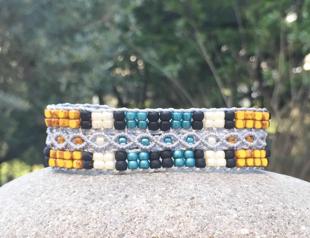 Bracelet Le Marseillais gris, noir, jaune, blanc et vert
