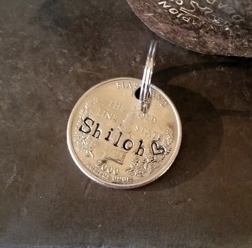shiloh maryland pride dog tag quarter love dogs pet id cats too anvildesigns