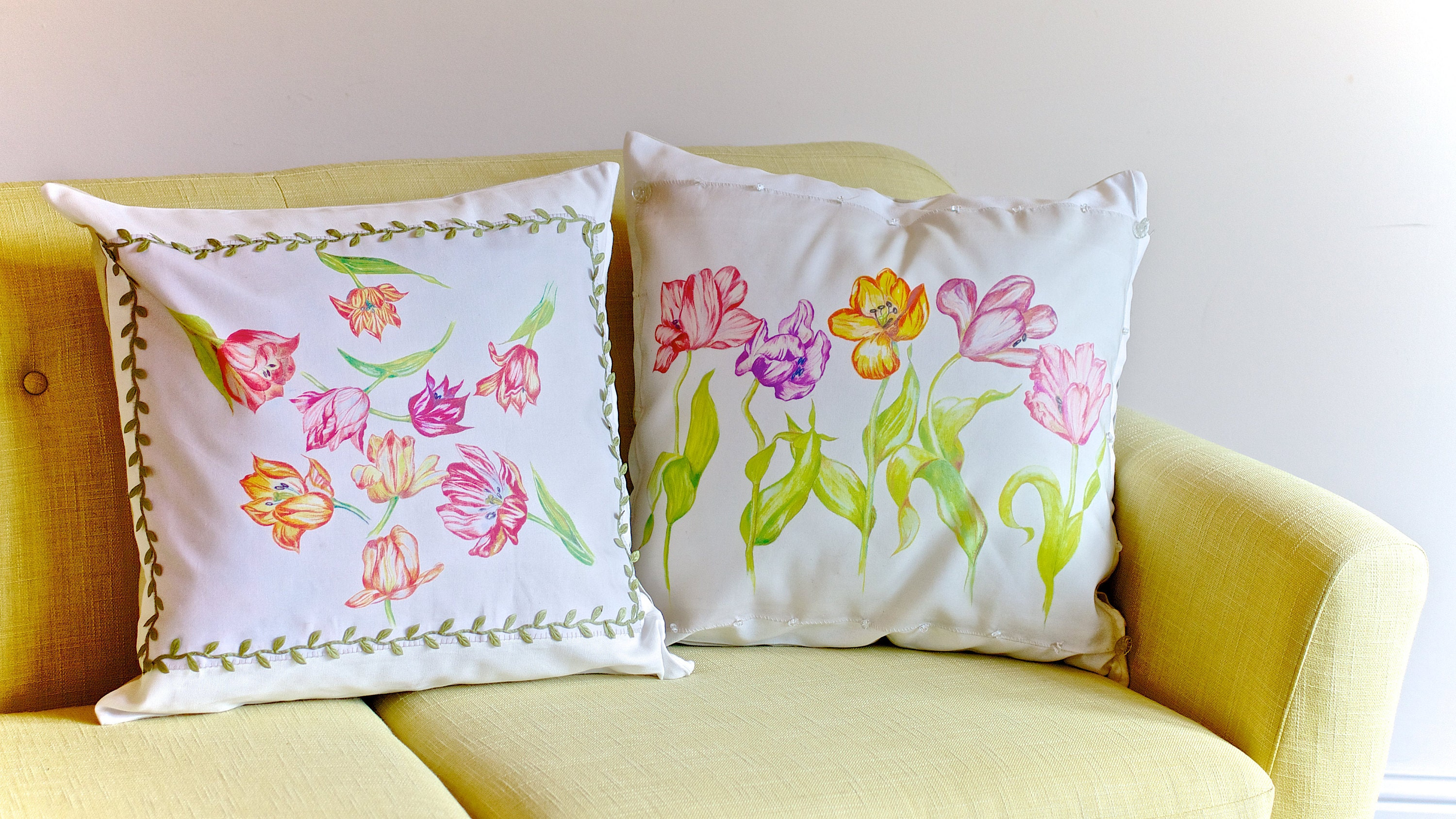 Two Tulip Pillows designed by Paula Kuitenbrouwer