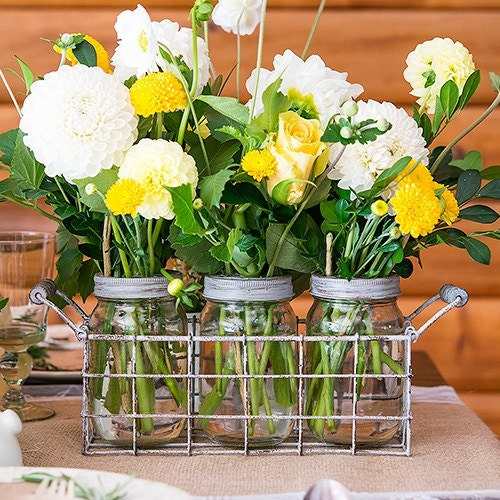 Vintage look mason jars with grid top and flowers
