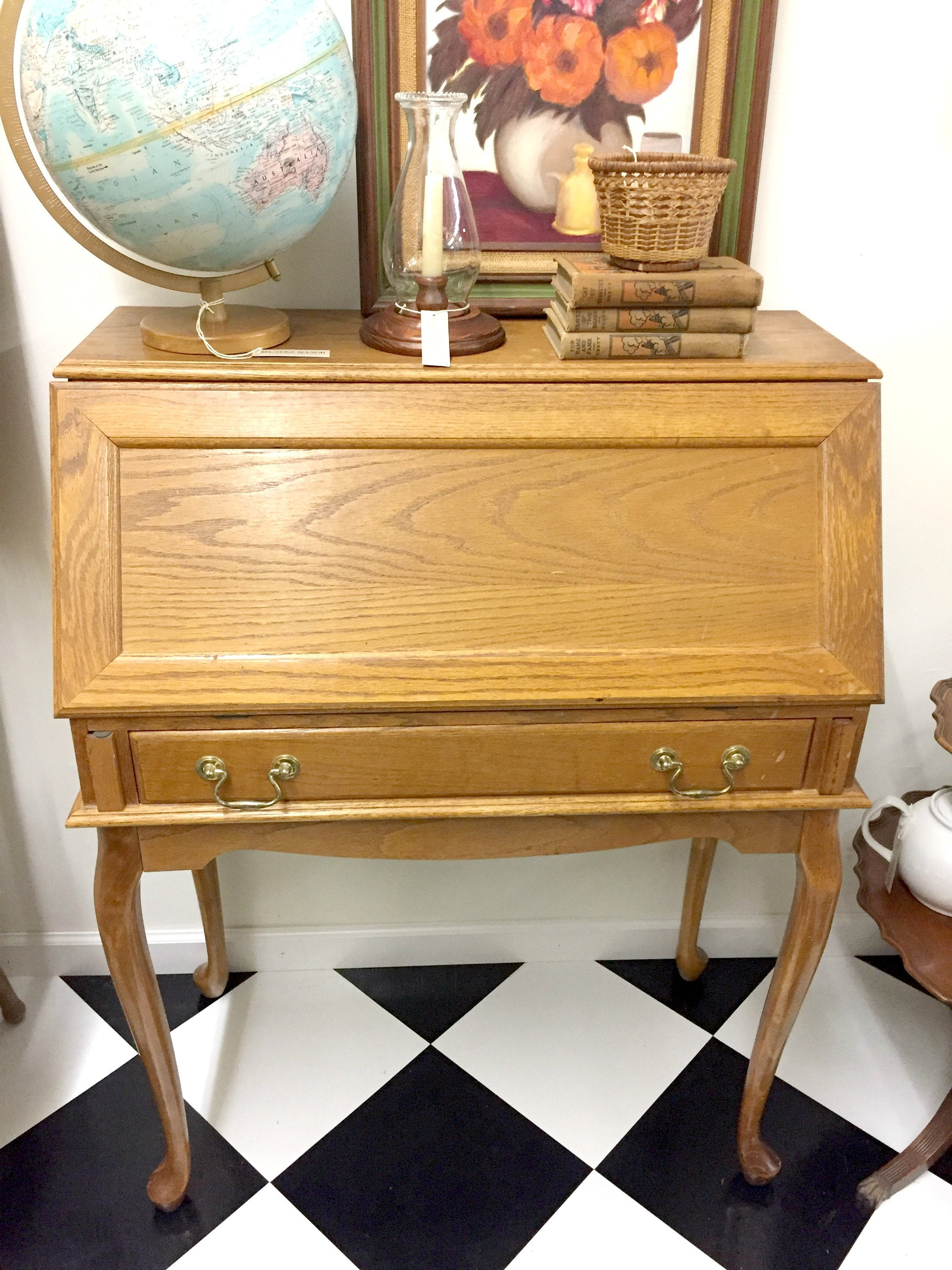 vintage small secretary desk