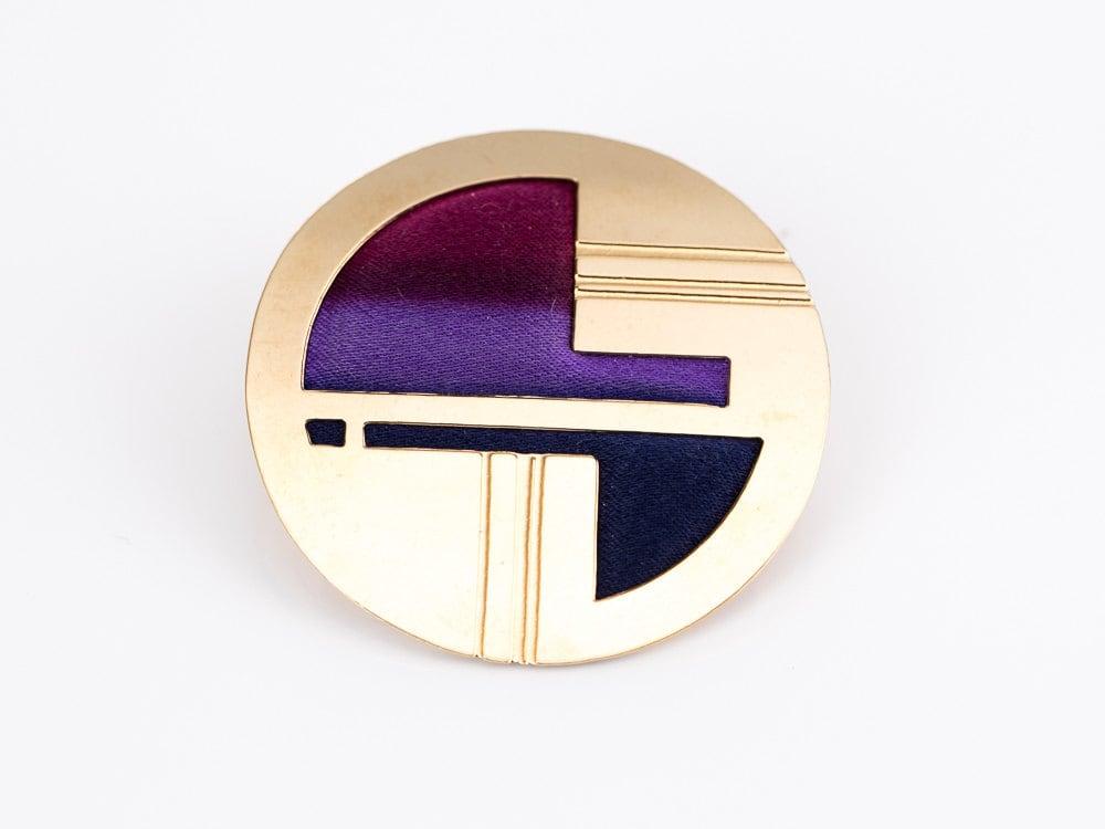 Vintage Kyle Mckeown Gold and Silk Art Deco Brooch