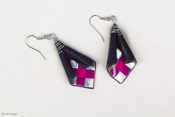 gunadesign guna andersone metal leather earrings