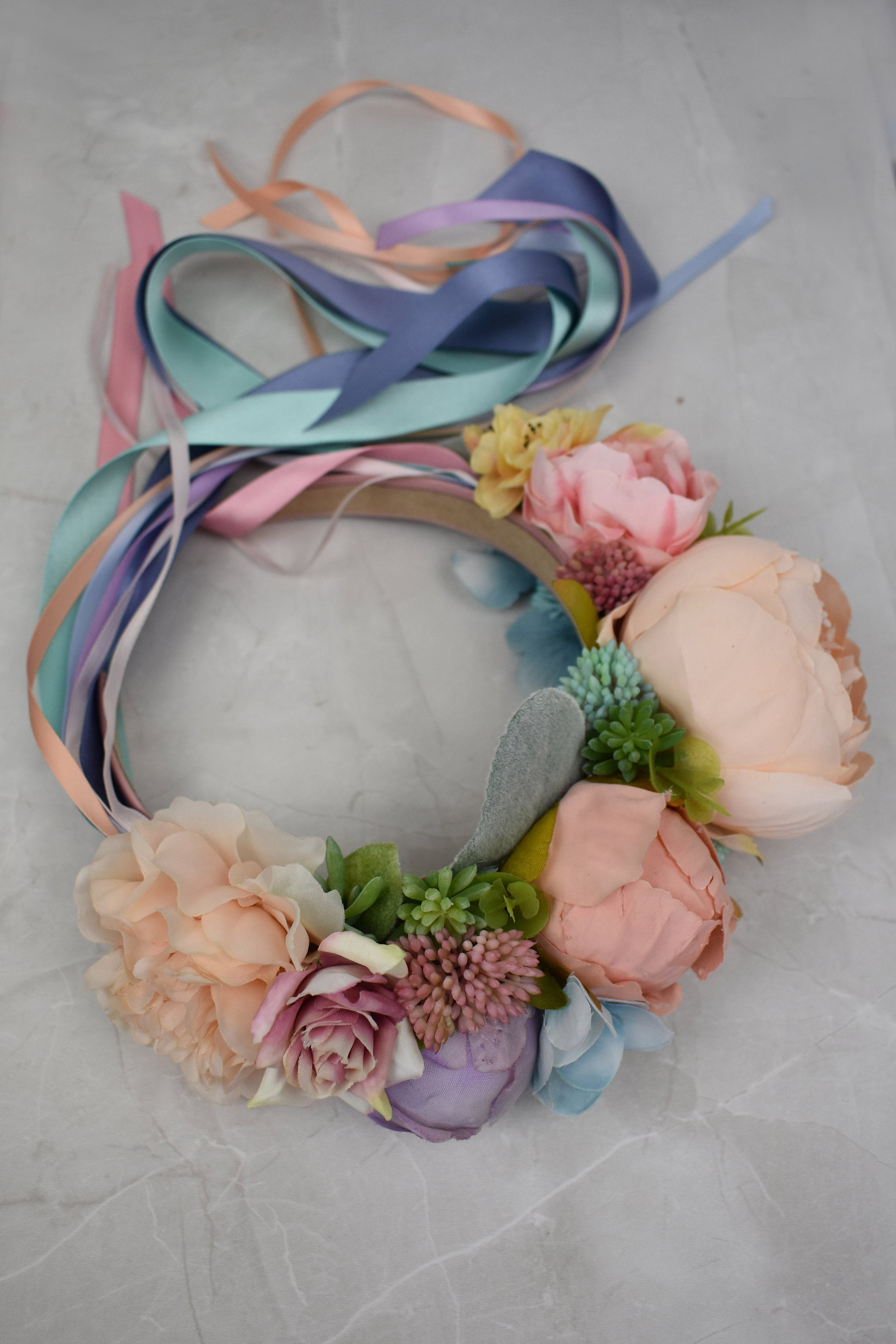 Pastel flower crown headband bridal festival headpiece with ribbons