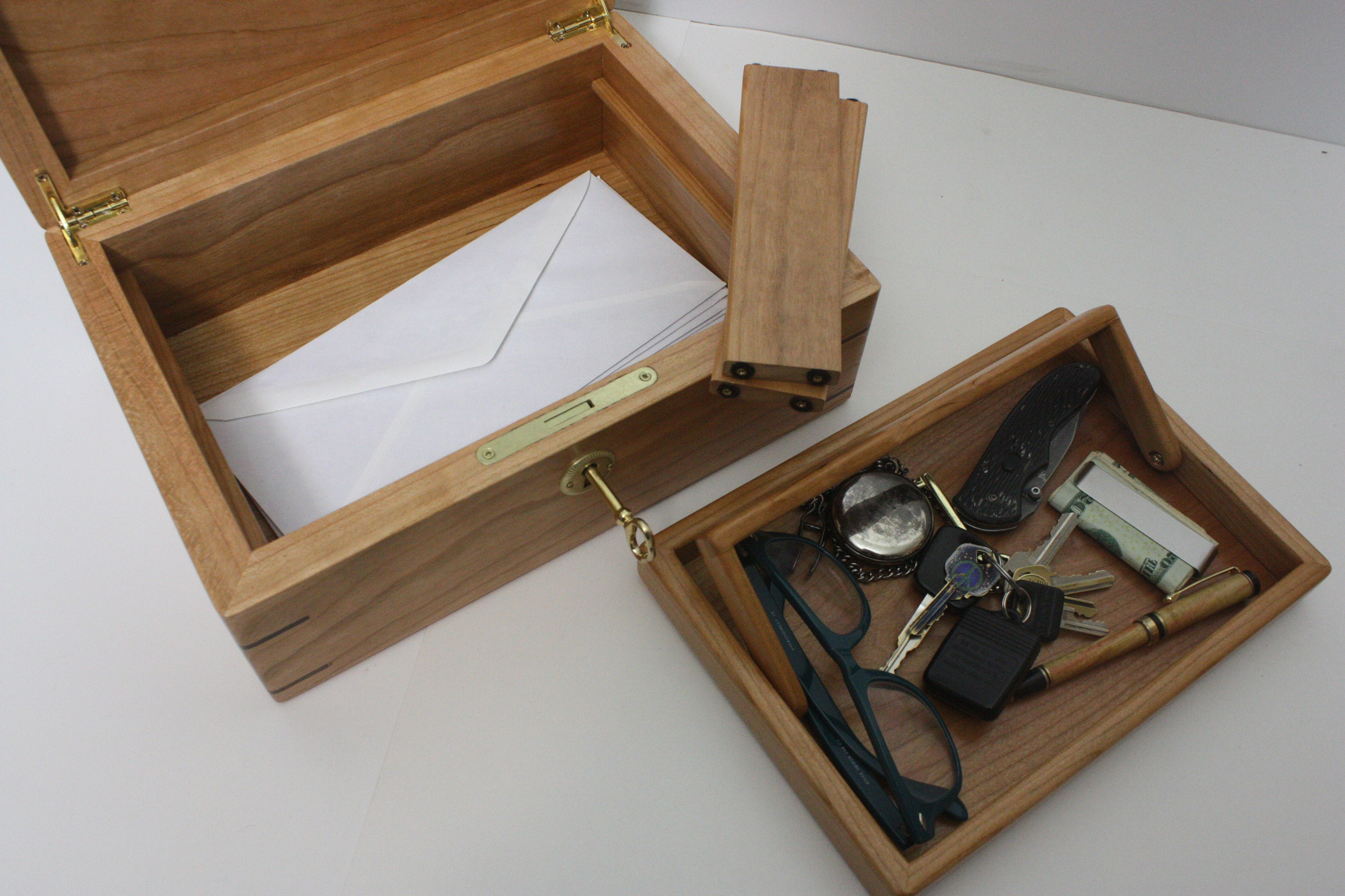 Cherry Wood Mens Valet Box
