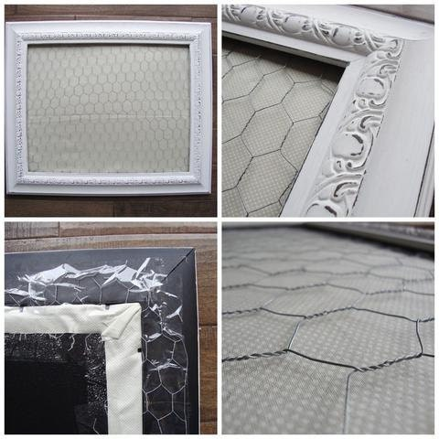 DIY embroidery thread display: secure chicken wire into frame.