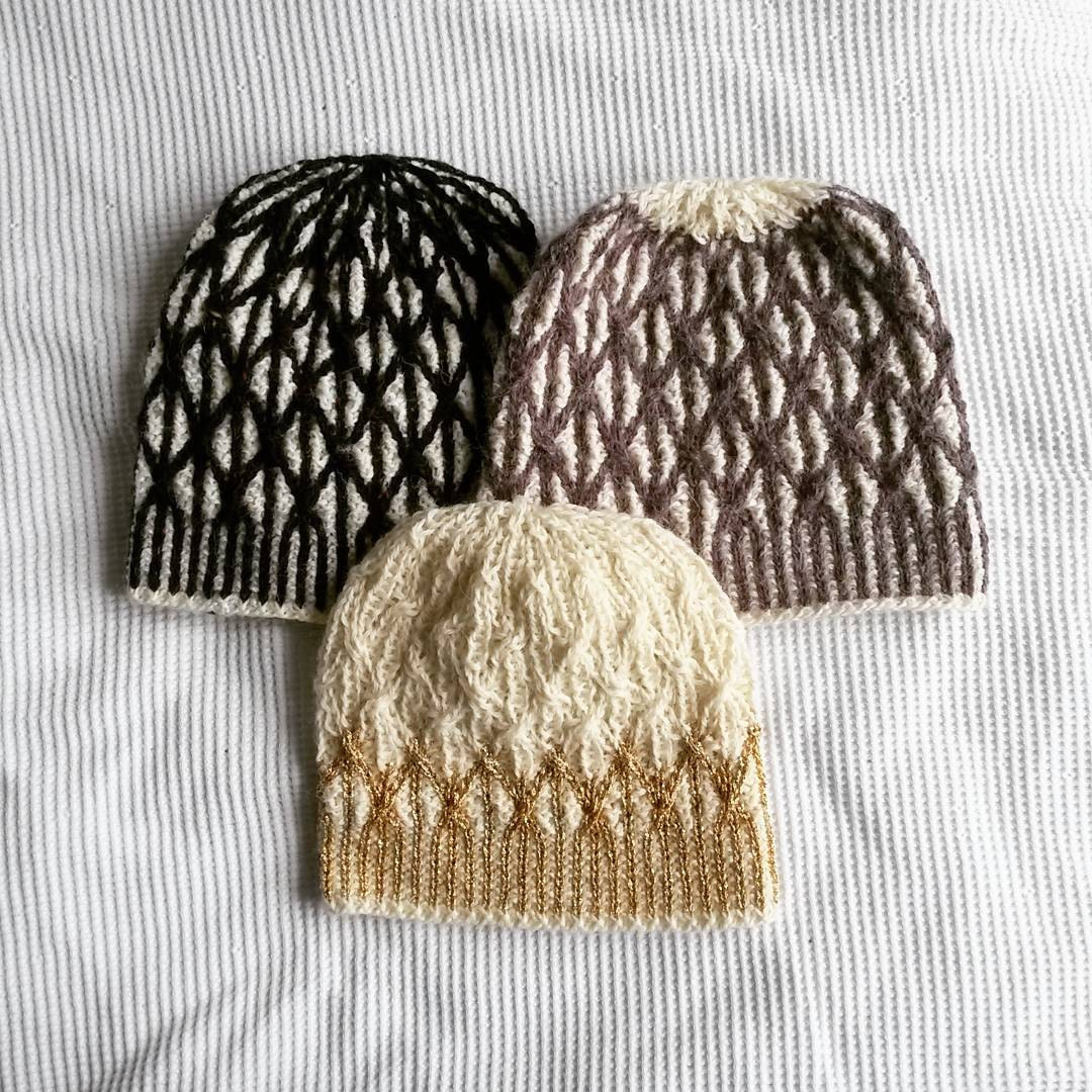 Aran Lattice Beanie Two Tone