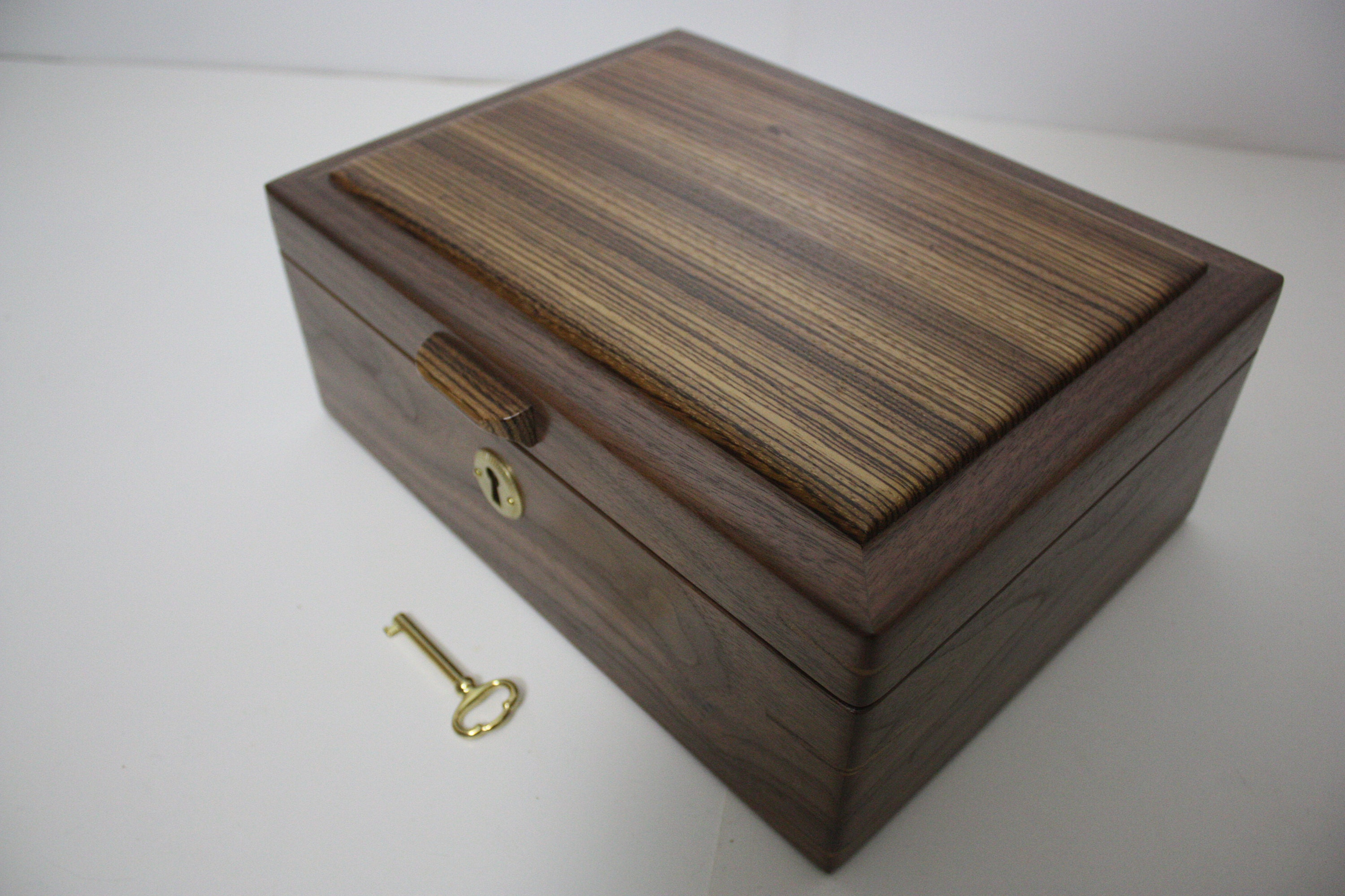 Handmade Wood Box, Black Walnut and Zebrawood