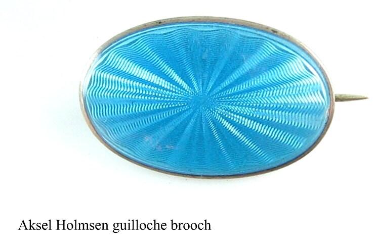 Guilloche enamel brooch by Aksel Holmsen, c. 1920s