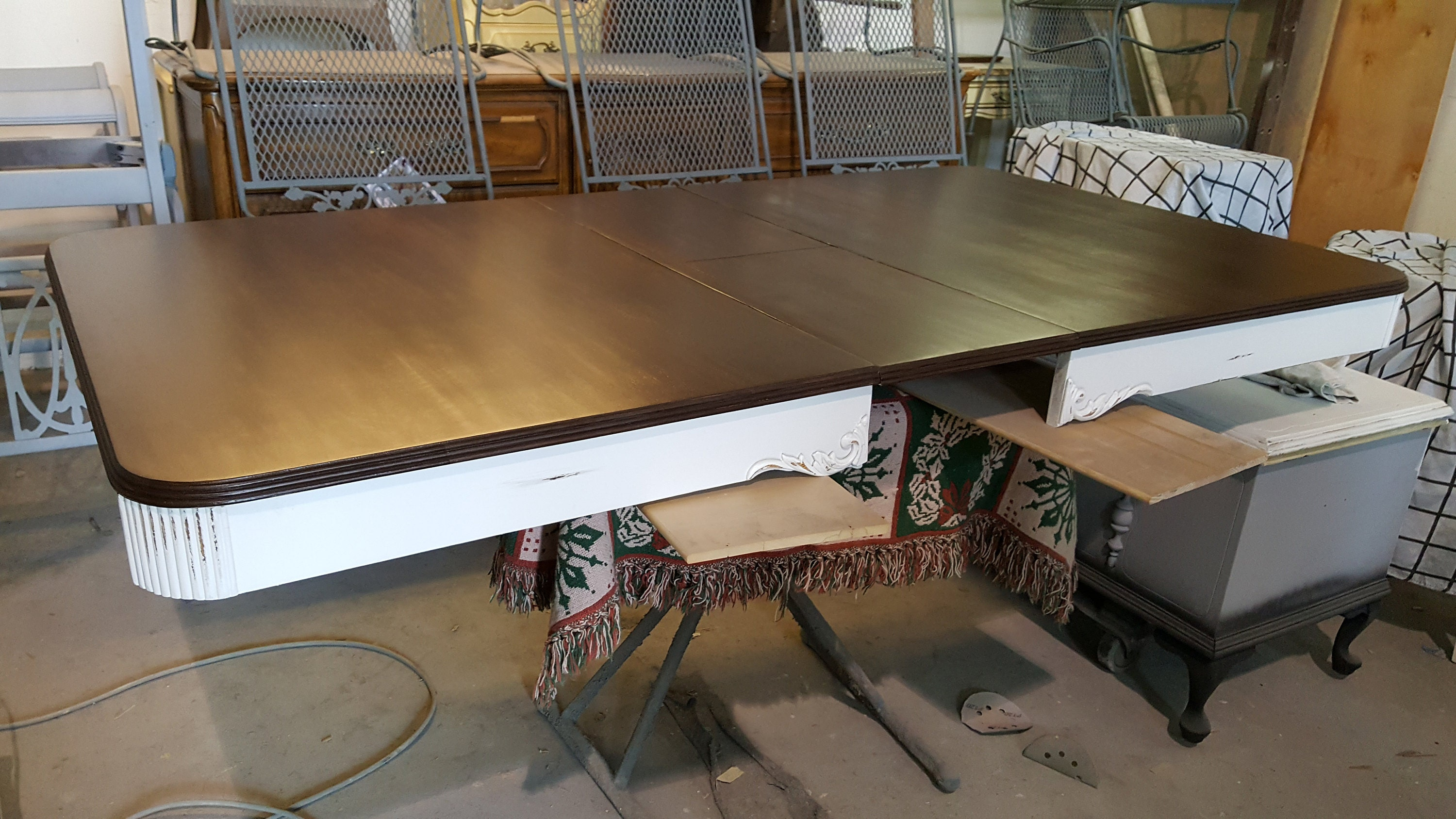 vintage, distressed dining room table, stained top