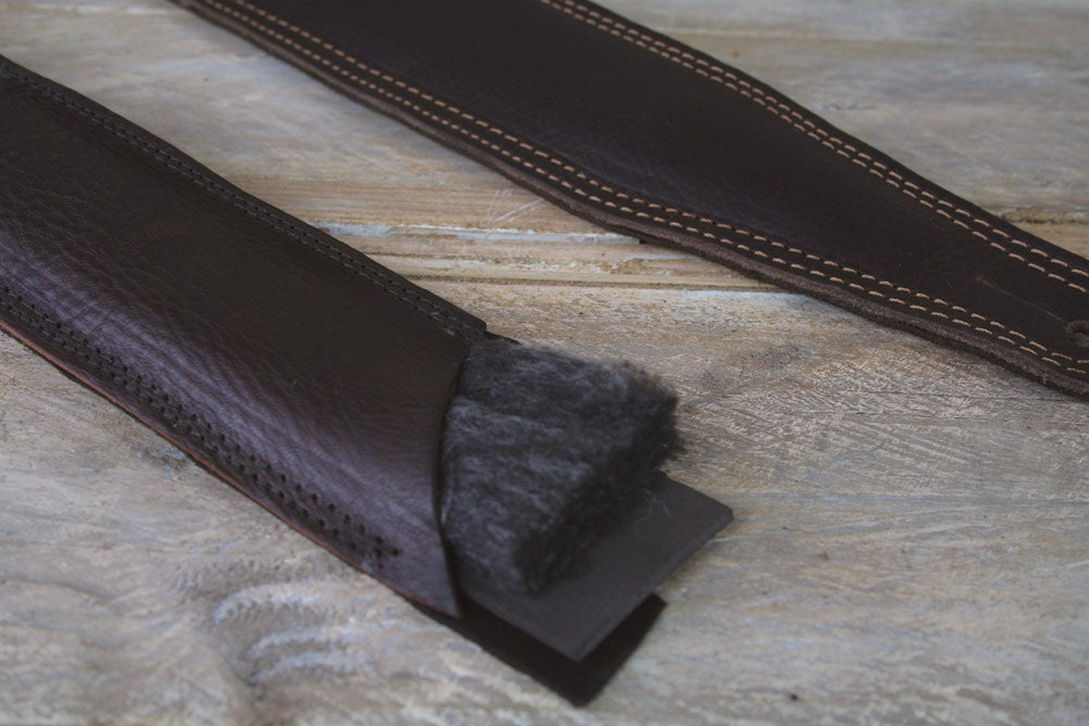 Showing the padding in a Pinegrove GS61 guitar strap
