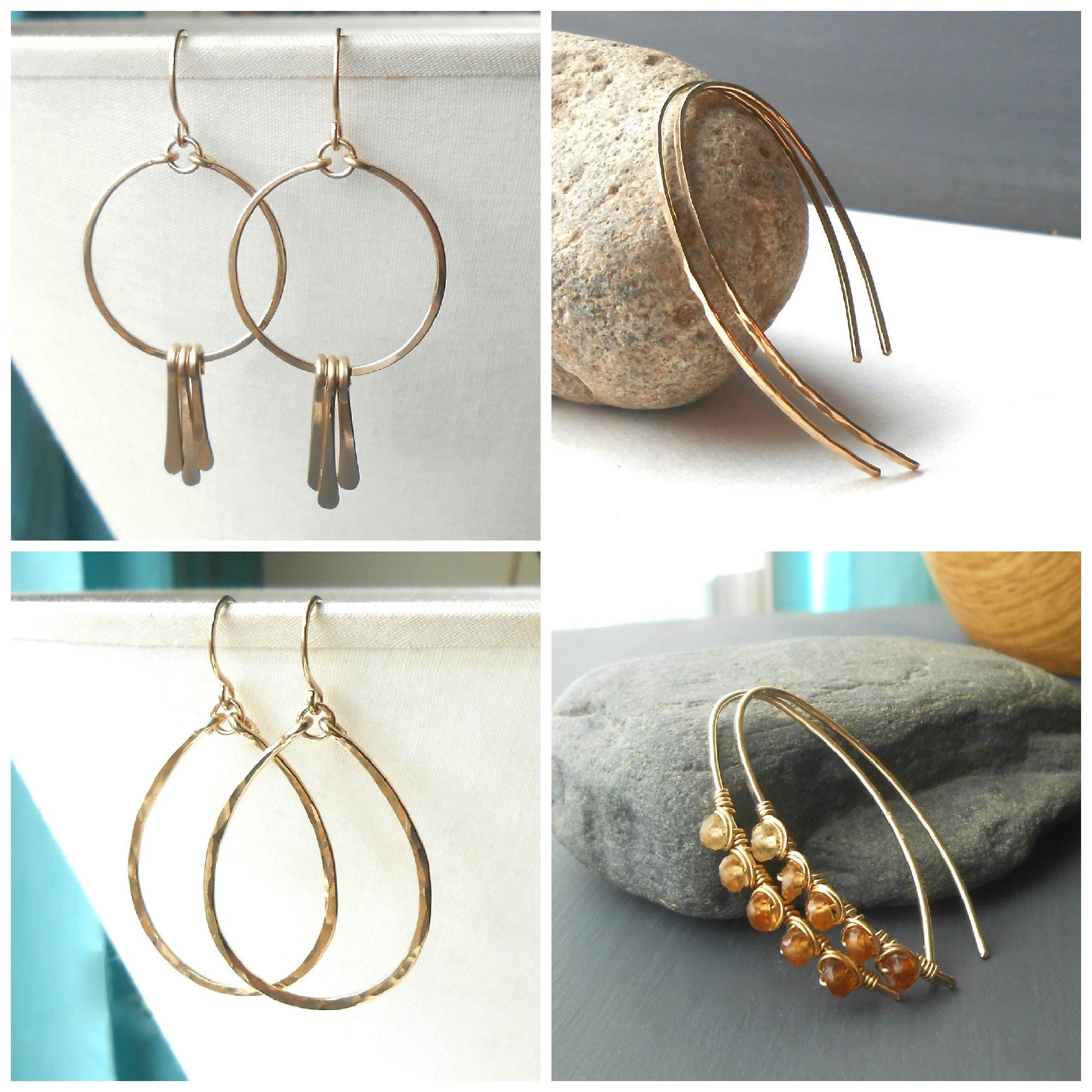 handmade gold filled hoop earrings