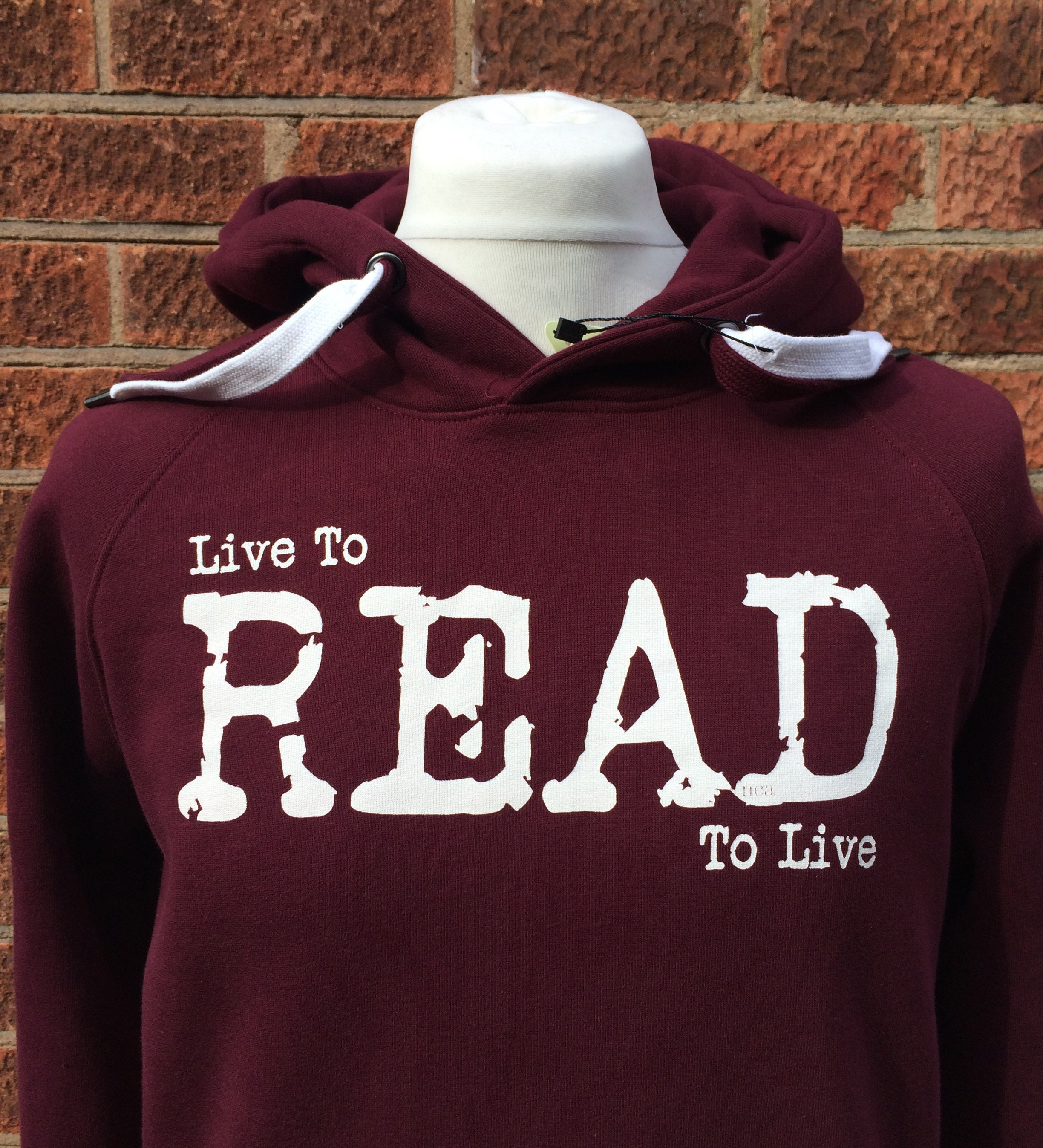 Live to Read hoodie in red by Nameless City Apparel