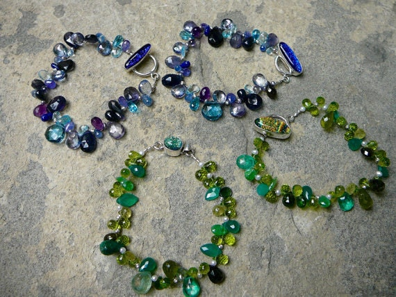 Briolette Beads, Dichroic Glass, Green Gemstone Bracelet, Blue Gemstone Bracelet, Dichroic Glass Bracelet Clasp, Dichroic Glass Clasp