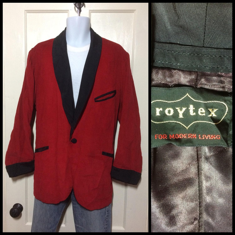 Blood red corduroy smoking jacket, 1950s vintage.