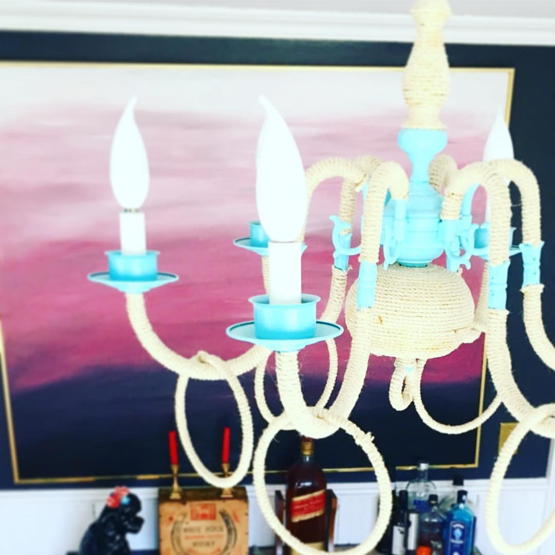 UPCYCLED CHANDELIER + RE-PAINTED CANVAS