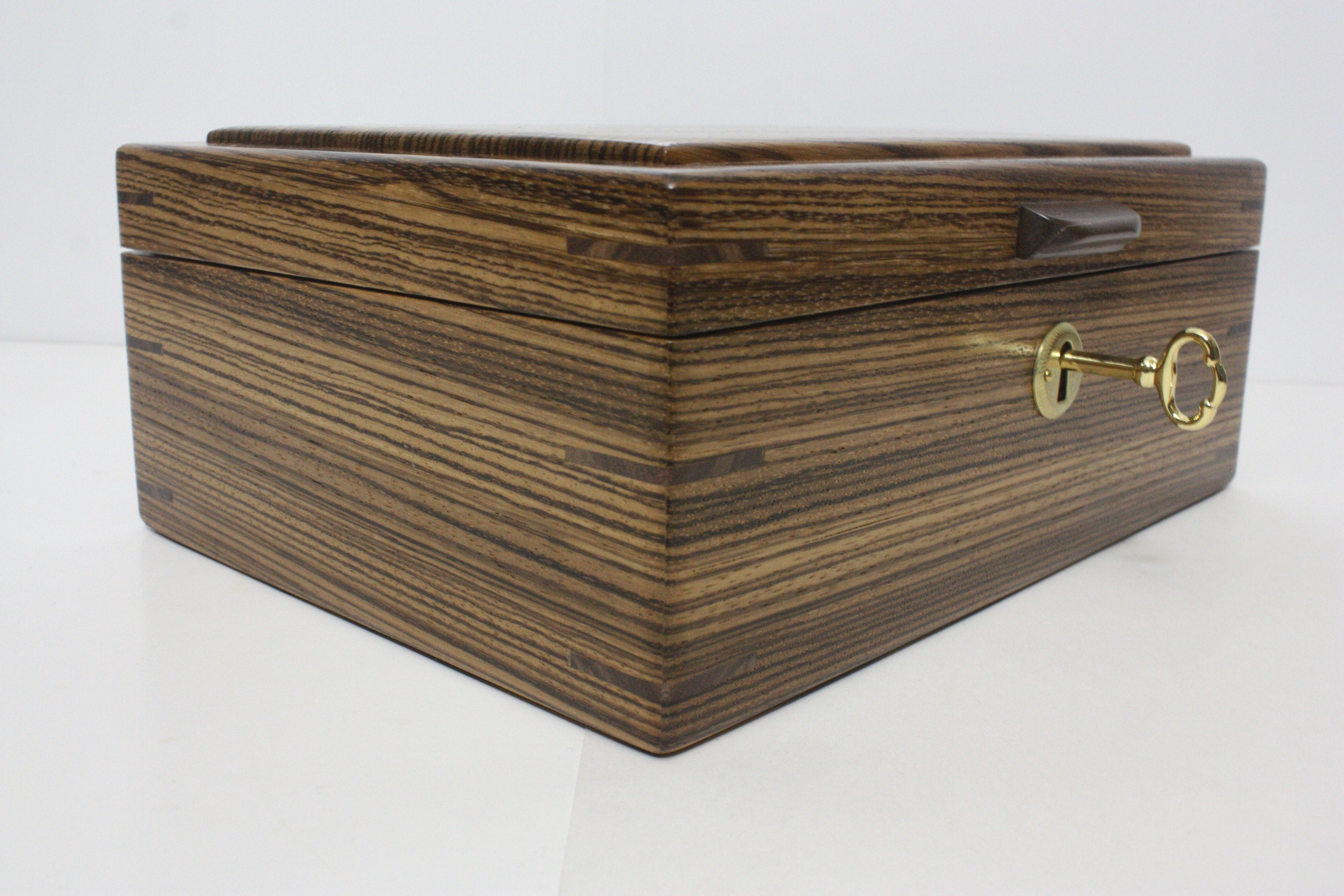 Riftsawn Zebrawood Locking Wood Box