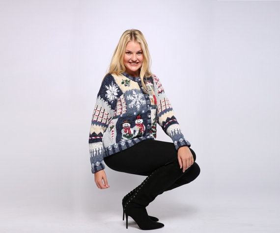 Blue holiday cardigan