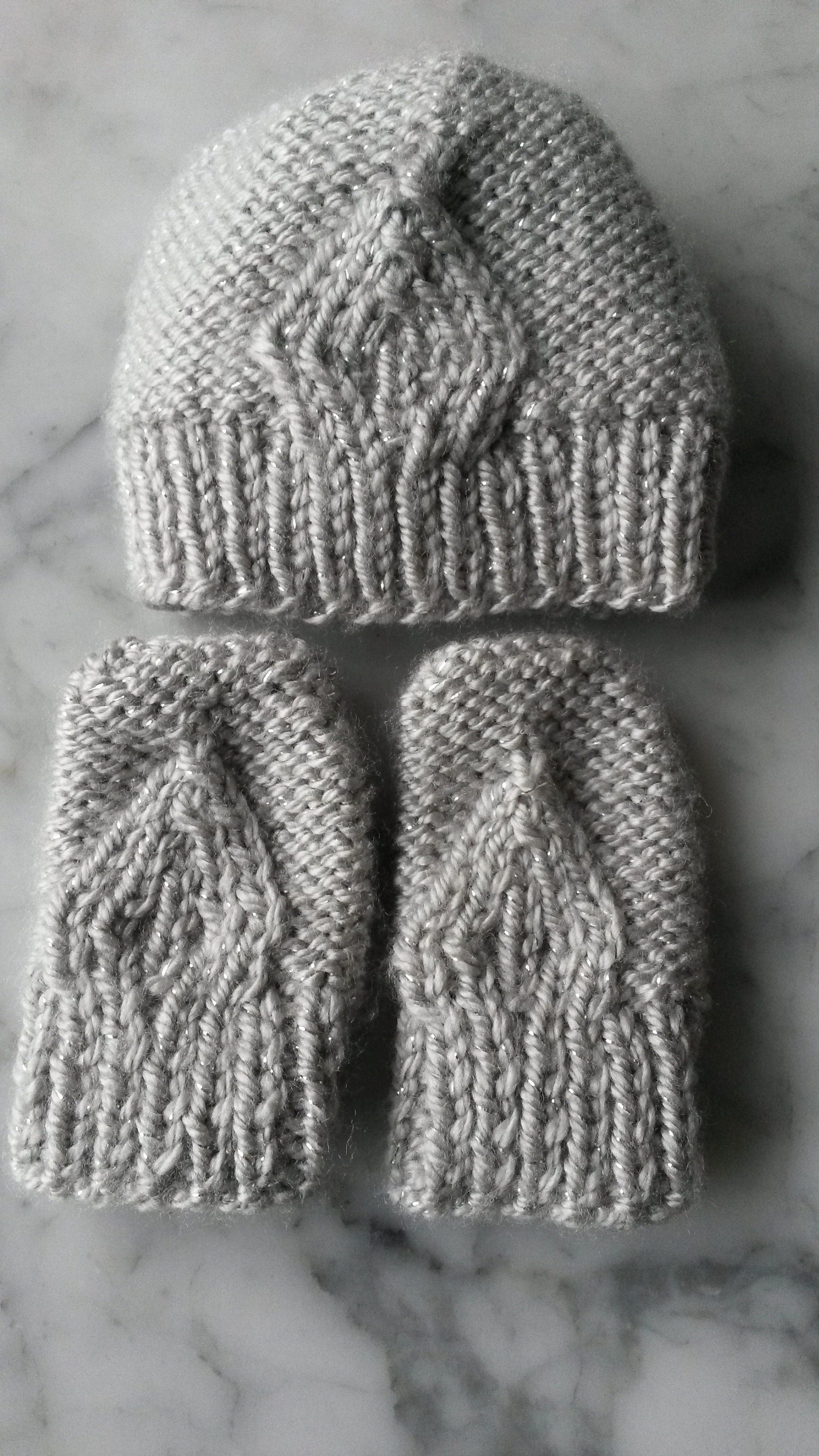 silver newborn hat and mittens