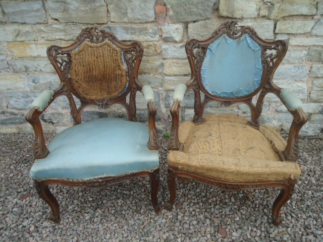 Antique French ornate carved Fauteils