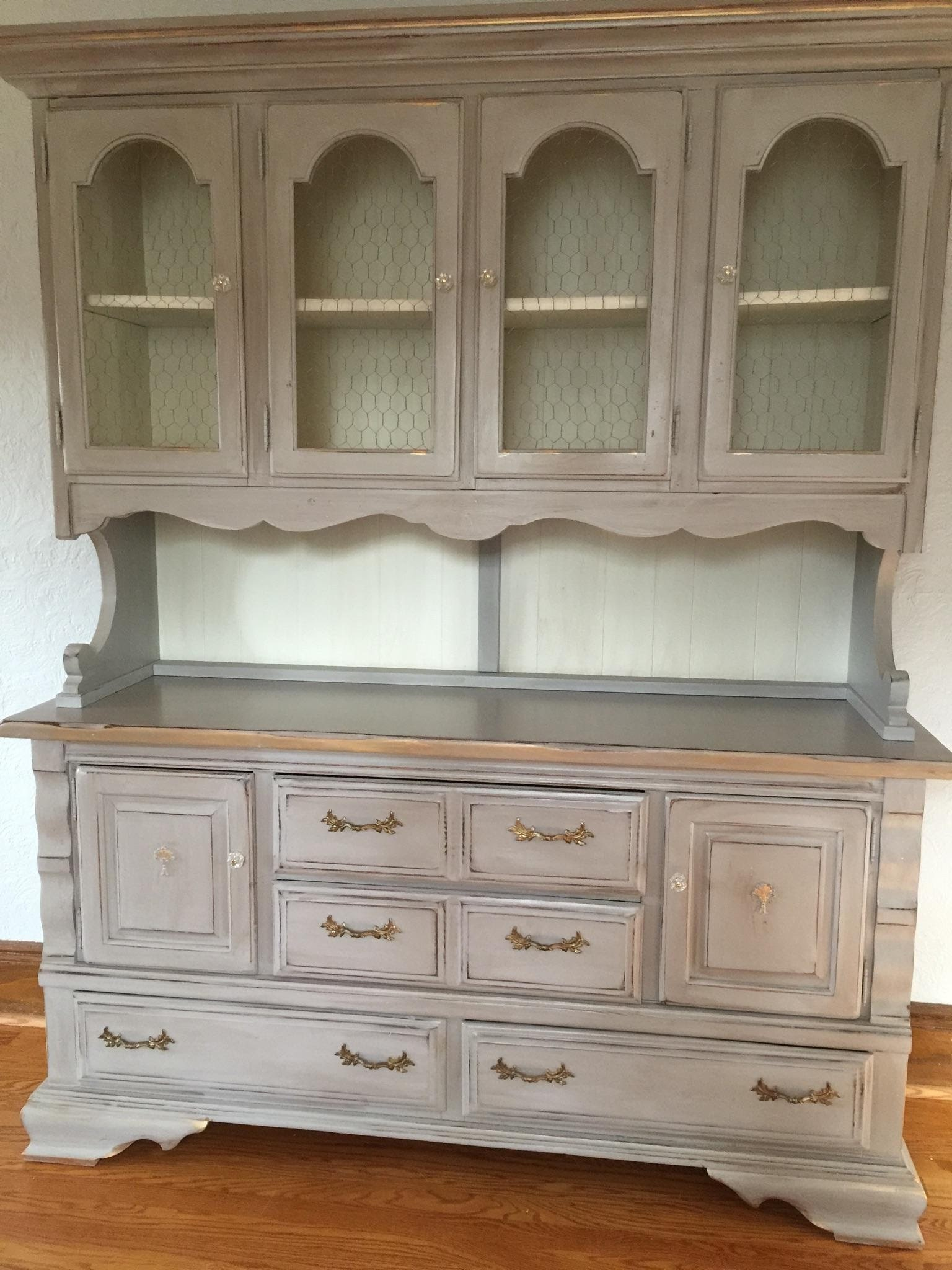 Vintage Painted China Cabinet, Pantry, Hutch, Breakfront, Storage, Shabby  Chic,