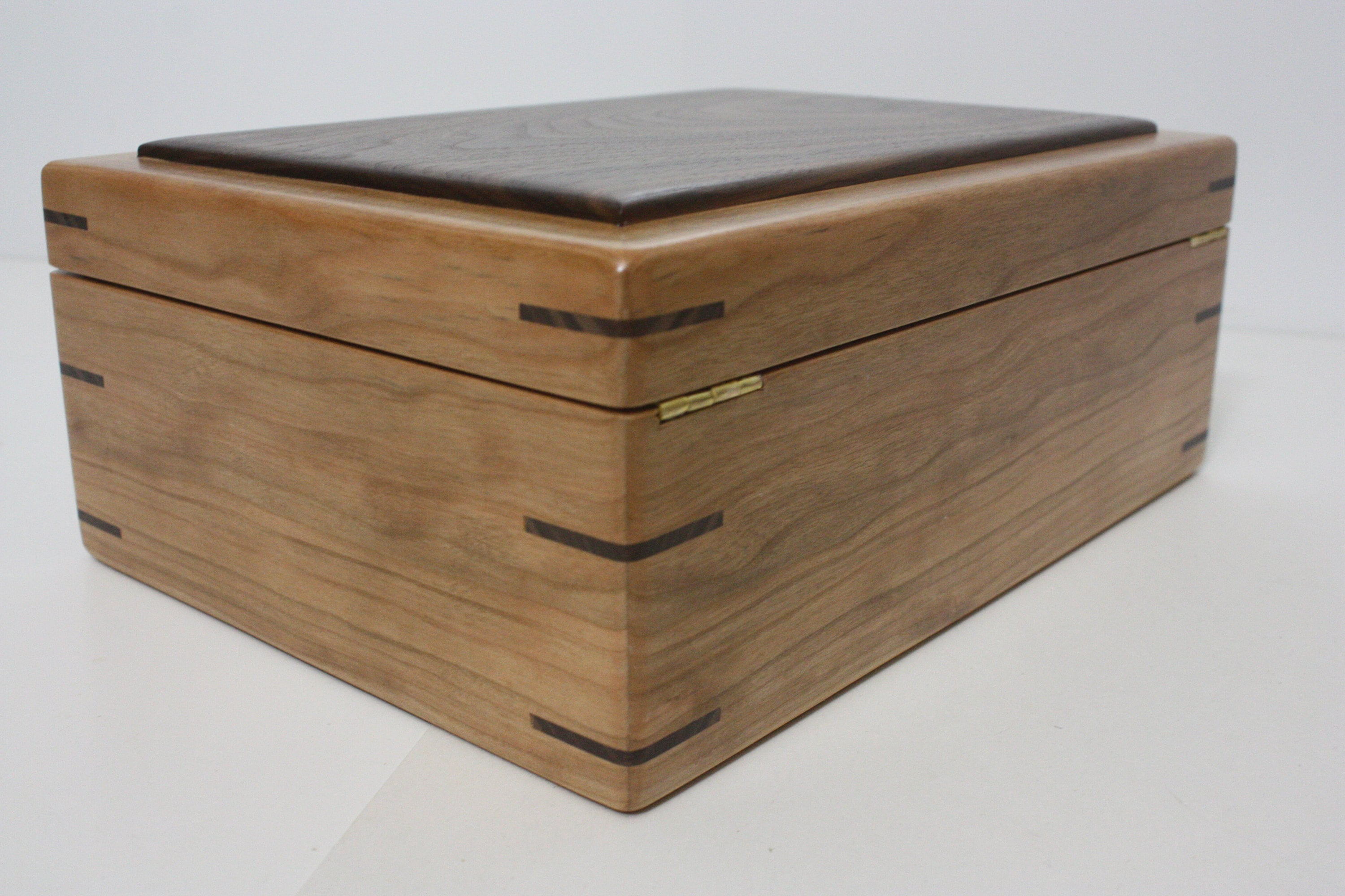Cherry Wood Box with Hinged Lid