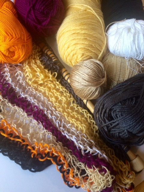 Mixture of yarn in fall colors