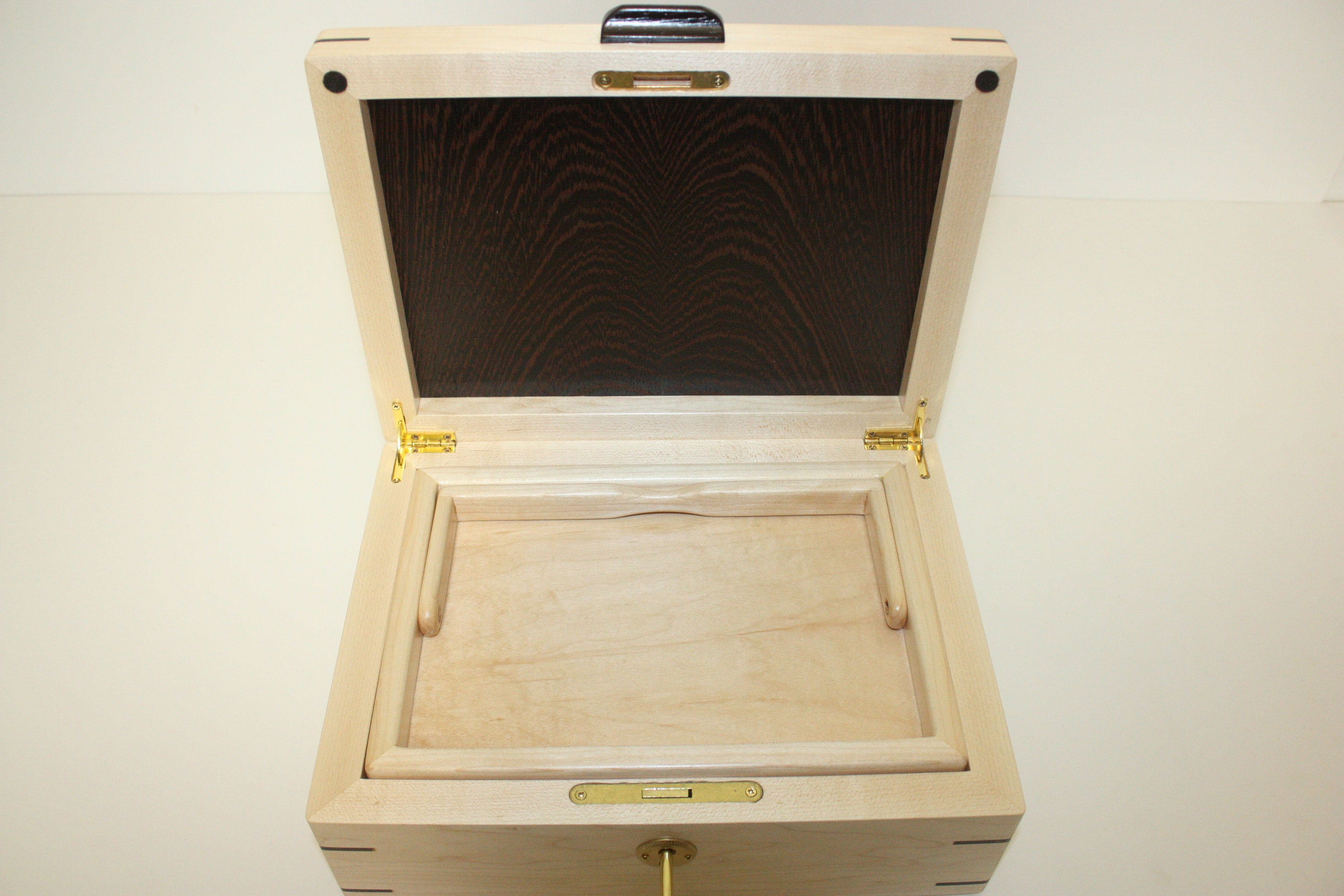 Maple and Wenge Wood Box with lift out tray