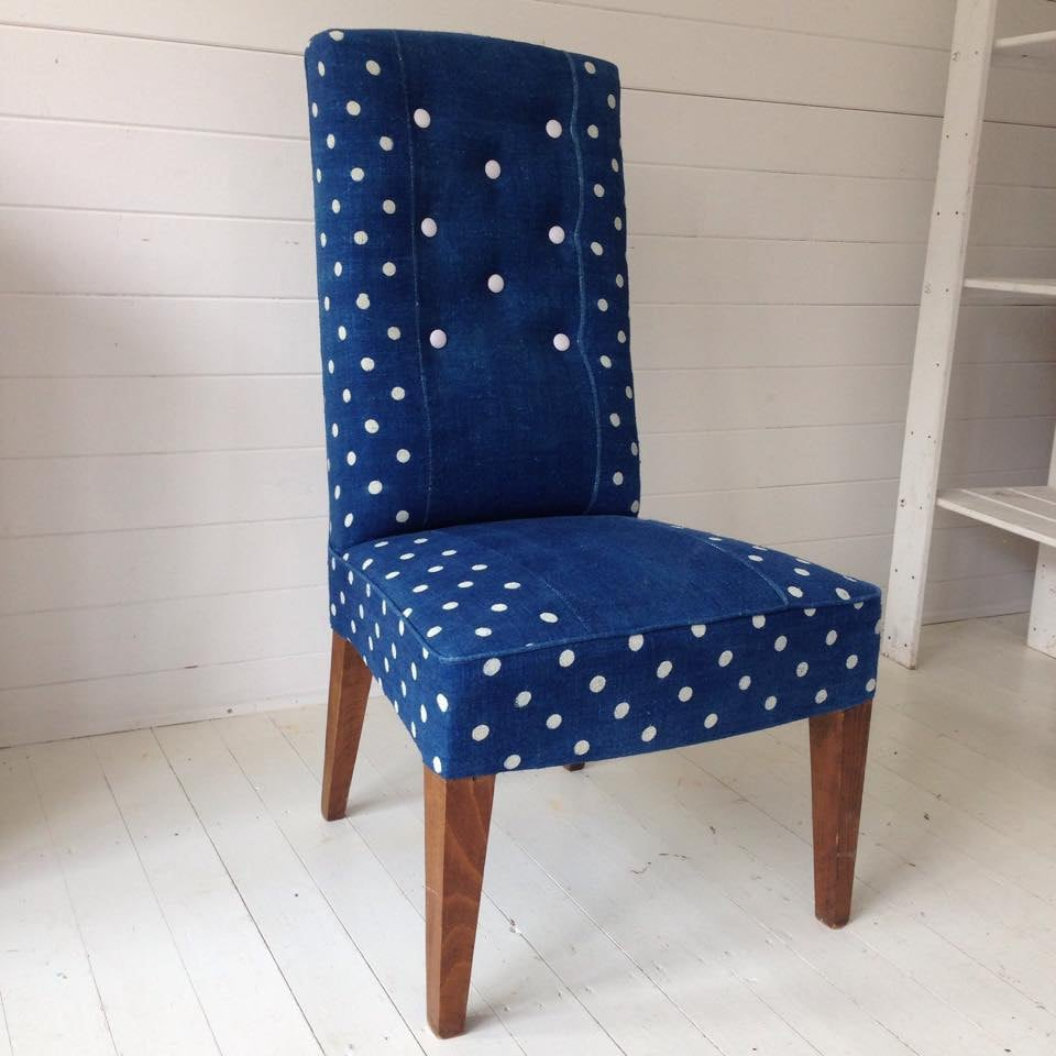 Chair upholstered in vintage Indigo dyed fabric