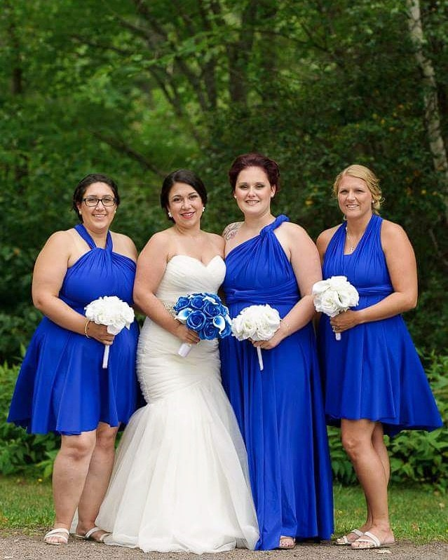 Jen + her bridesmaids wearing our short and long dresses in sapphire