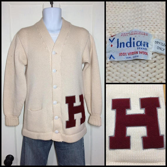 1960s thick wool Harvard University letterman sweater