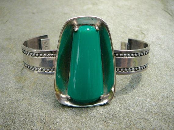 Green Onyx Taxco Silver Bracelet