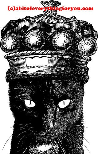 Black cat wearing a kings crown