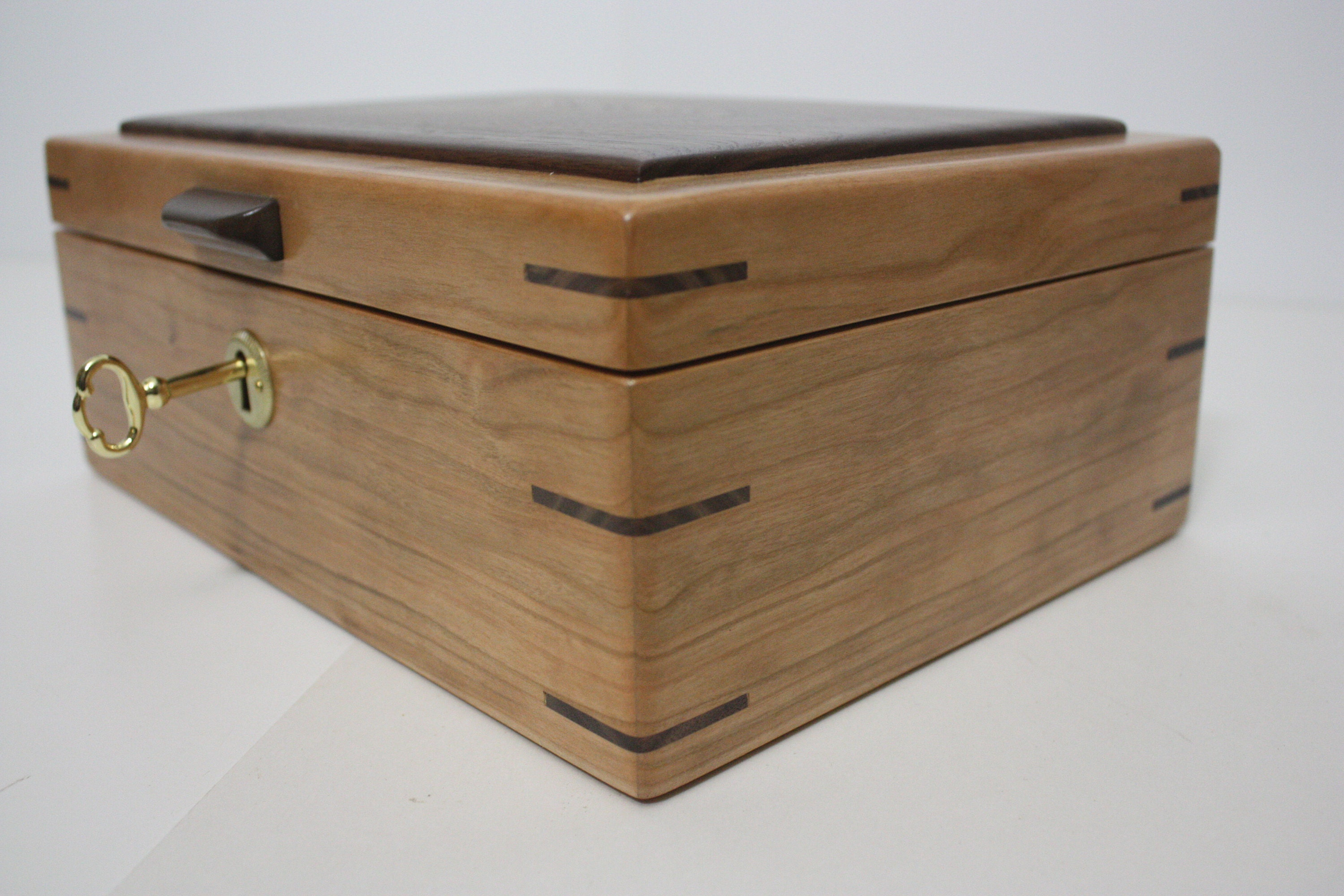Locking Cherry Wood Mens Valet Box