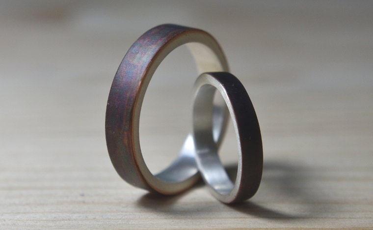 Antique Copper Wedding Band Set
