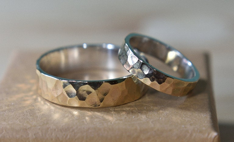 Gold 9k Hammered Wedding Band Set