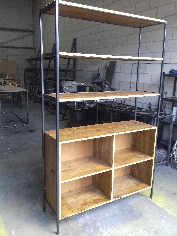Custom made shelving incorporating enclosed shelving.