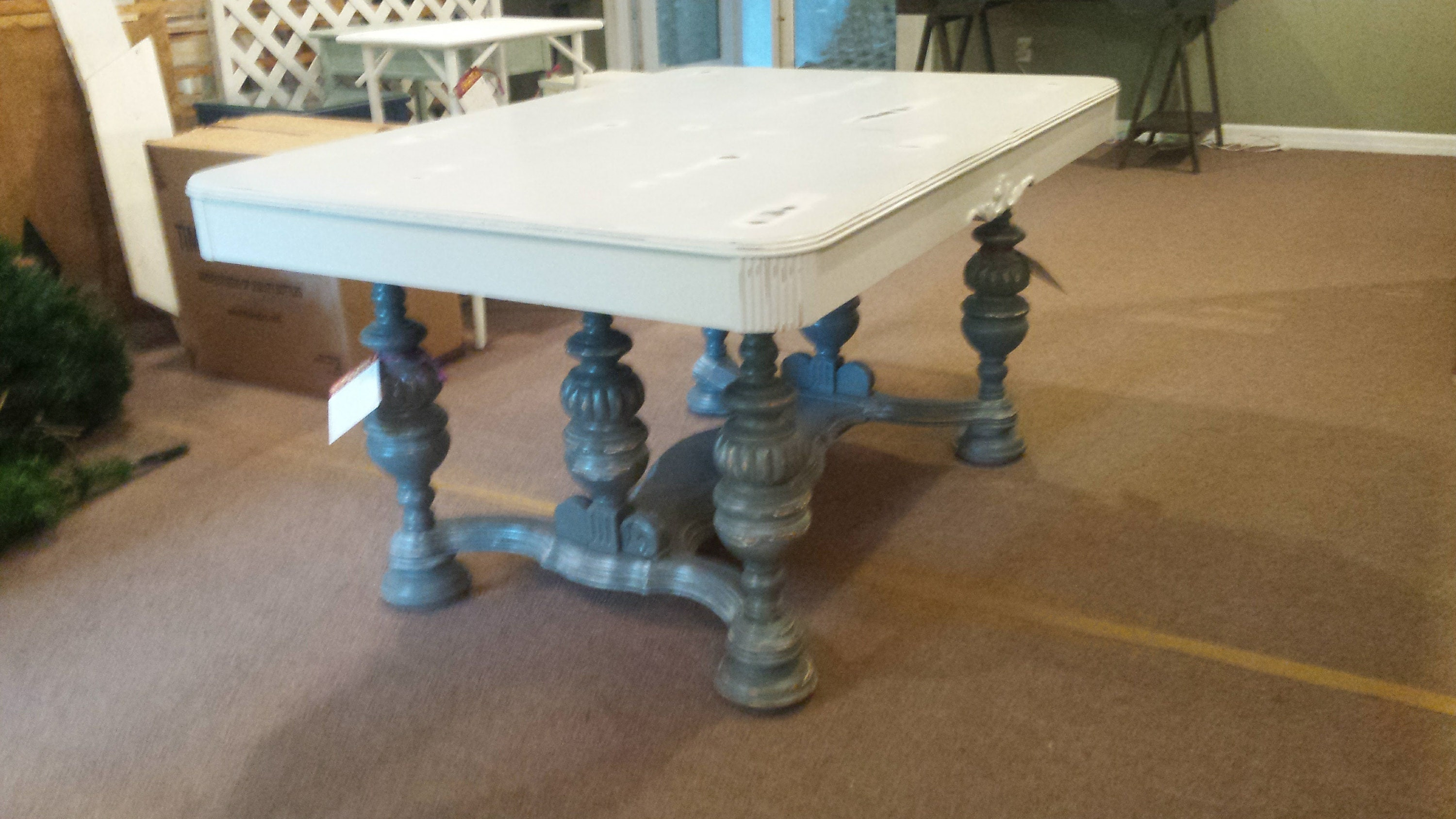 vintage, dining room table, distressed, shabby chic, rustic, farmhouse, cottage, country
