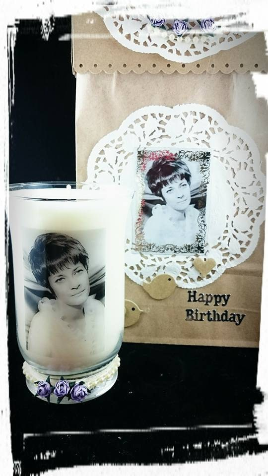 70th Birthday  candle made with fragrance rose petals, left natural in colour